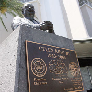 Tina Allen's sculpture of Celes King III sits at the intersection of Martin Luther King Jr. and Crenshaw boulevards, the starting point for the annual Martin Luther King Jr. Day Parade.