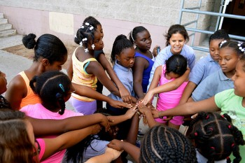 A running club for 5th grade girls at South L.A.'s Kipp Academy Charter School. Photo by Brianna Sacks