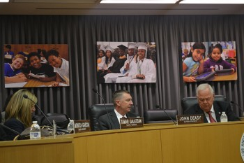 Superintendent John Deasy at L.A. Board of Education meeting on October 29, 2013.  Photo credit:  Brianna Sacks