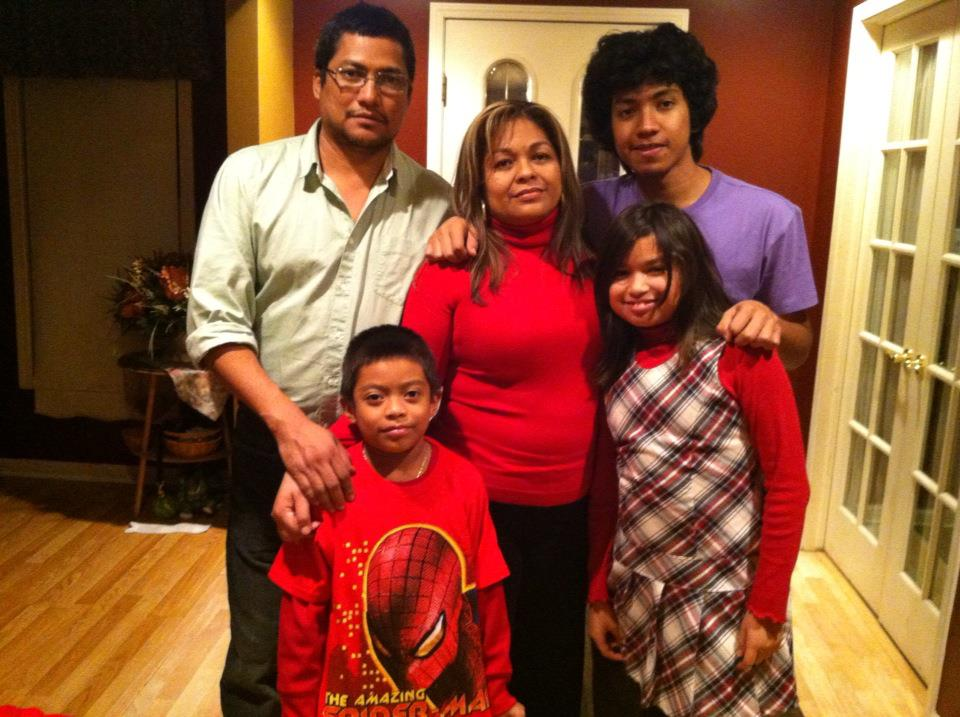 Miguel pictured with family in Indiana