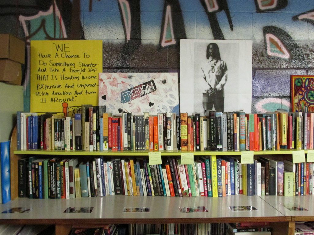 Bookshelf at Chuco's Justice Center in South L.A. | Stephanie Monte