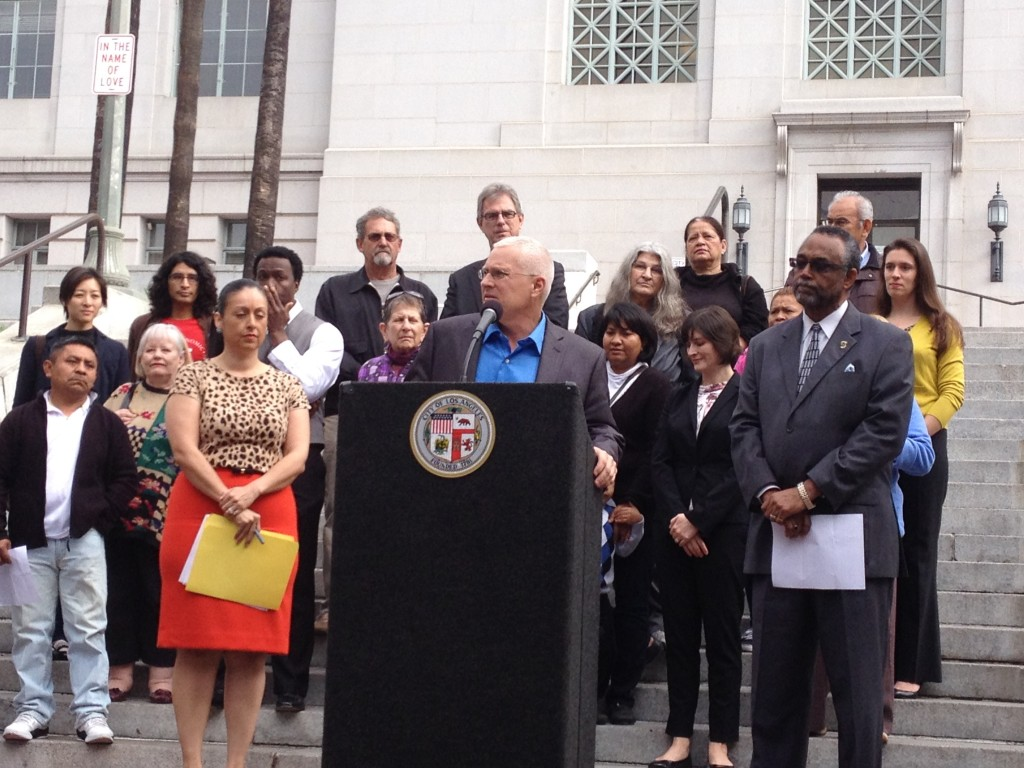 Nury Martinez, Mike Bonin and Curren Price outside City Hall | Katherine Davis