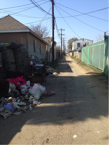 The alley between 53rd and 54th streets at San Pedro and Main streets is slated for transformation into a green space for residents to walk and play. | Jordyn Holman