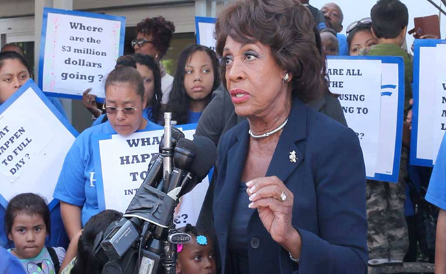 Maxine Waters speaking outside the LACOE meeting on Tuesday. | Stephanie Monte