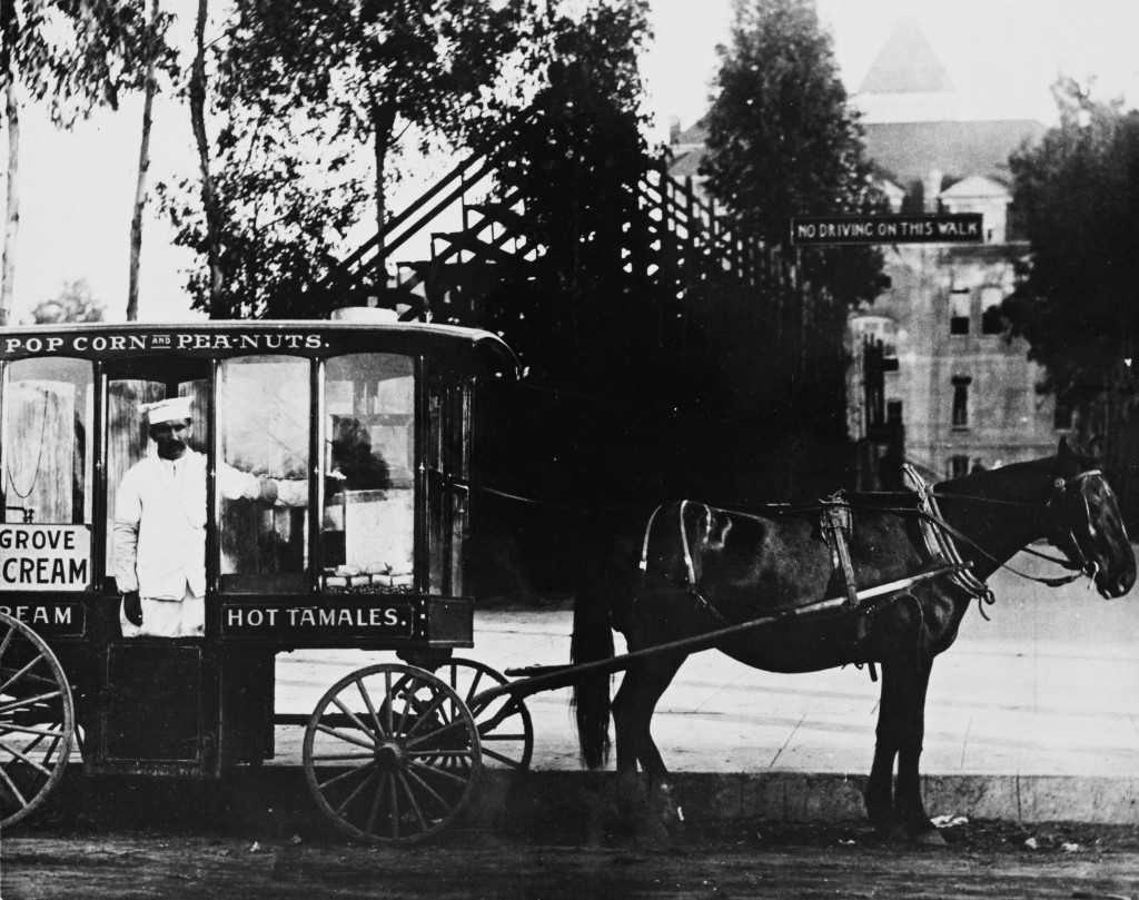 "Tom the ""Hot Tamales Man"" with his horse drawn wagon at USC in 1910.  
