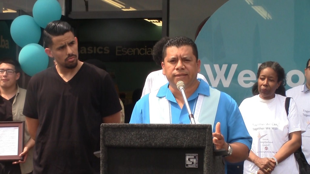 Nelson Garcia giving a speech at the opening of Alba Snacks and Services | Sinduja Rangarajan