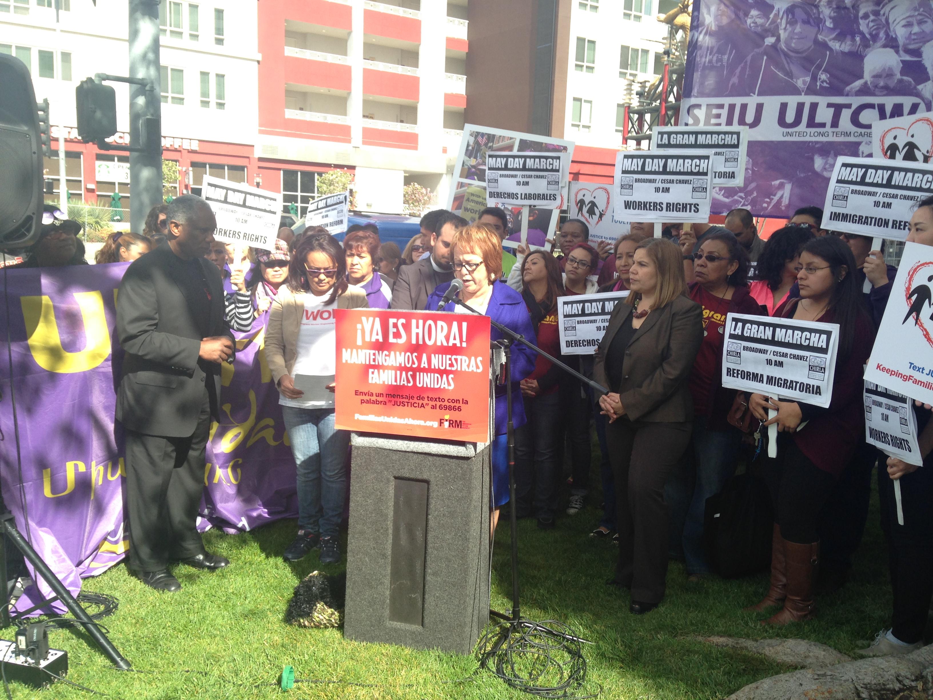 Maria Elena Durazo announces the 2014 May Day March in Downtown L.A. | Daina Beth Solomon