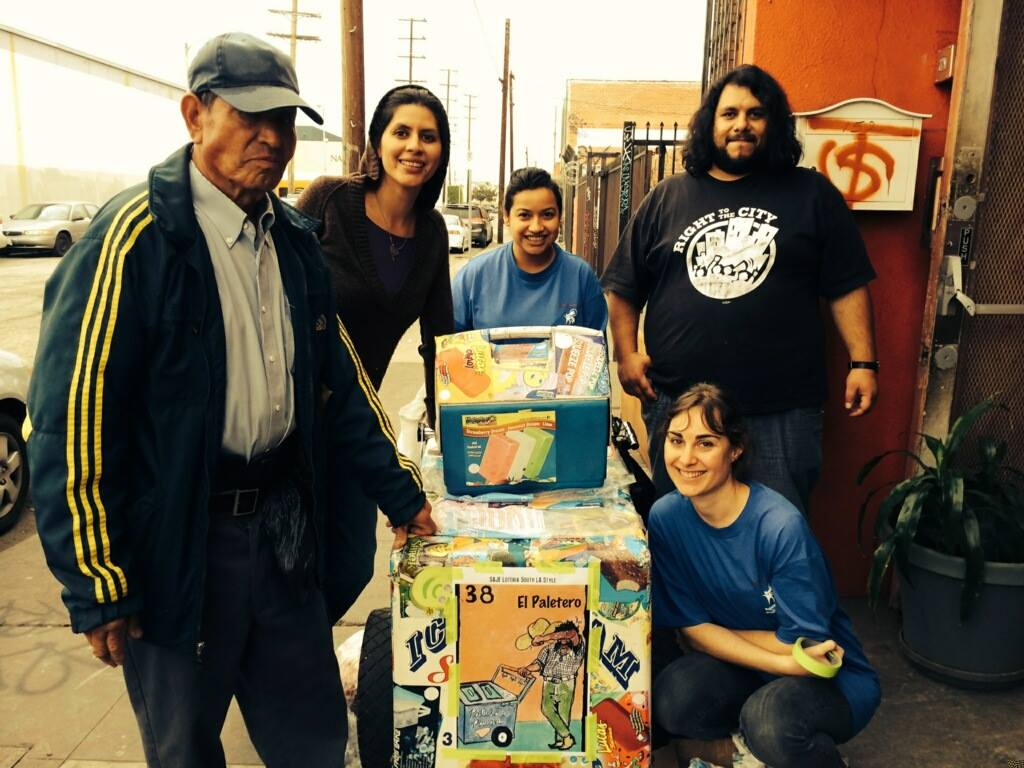 SAJE staff including Teresa Eilers (lower right) with the local paletero | SAJE