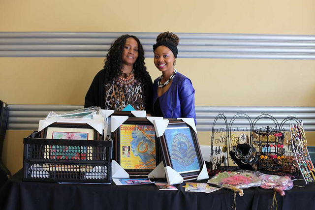 Vendors Aldonia Bailey and Chantrese Janae at the Leimert Park Art Walk in March.   Stephanie Monte