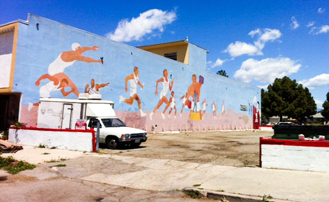 An old mural stands out from the rest of Marlton Square. | Daniel Carr- Crawford
