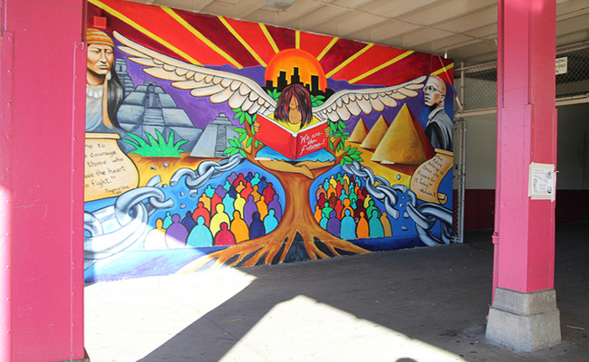 A South LA mural depicts the neighborhood's mixing of cultures. | Foshay School 7th Grade Photo Project