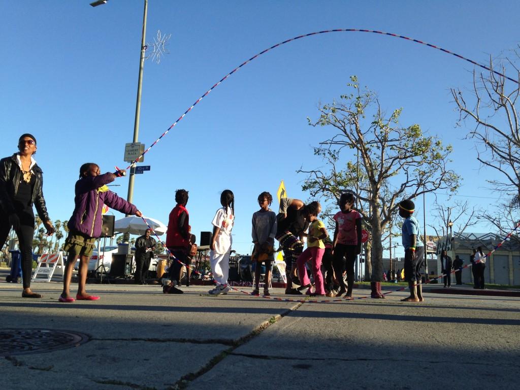 Children play jump rope druing the March Leimert Park Art Walk.   Daina Beth Solomon