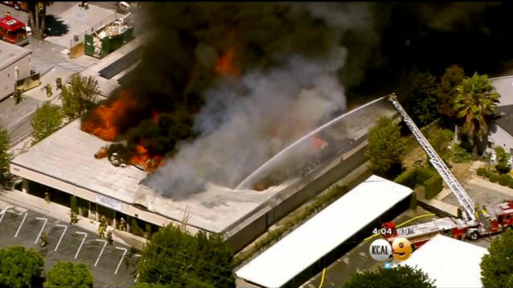 Animo South Los Angeles Charter School catches fire. | Video screenshot from KCAL 9