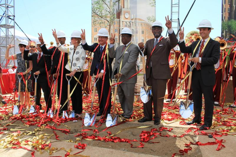 Community members, student leaders, trustees and local politicians break ground with USC president Max Nikias. | Phoenix Tso/Neon Tommy