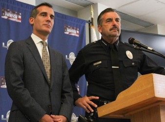 Mayor Eric Garcetti and LAPD Chief Charlie Beck speak about crime statistics at a recent conference held at the 77th Division station in South L.A. | Daina Beth Solomon