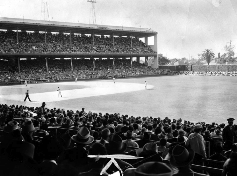 Fans are pictured here watching a baseball game in LA's Wrigley Field. | Los Angeles Public Library Photo Collection.