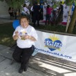 Volunteer Carmen Abalos enjoyed a healthy snack during a break.