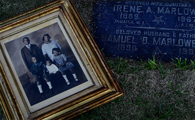 An undated family photo at Samuel B. Marlowe's grave in Inglewood. | latimes.com screenshot