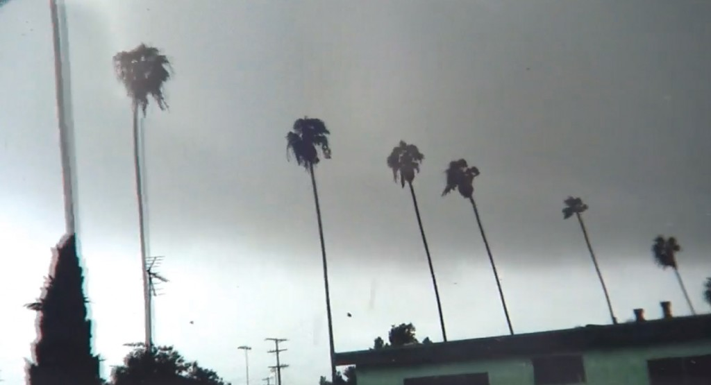 South L.A., moments before the tornado swirled in earnest, caught on tape by an onlooker. |ABC7 screenshot