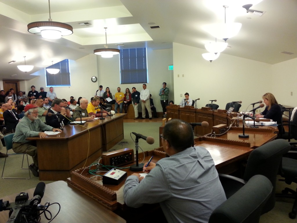 Residents of South LA speak in front of city planners in November 2014 about Freeport's operations. | Olga Grigoryants