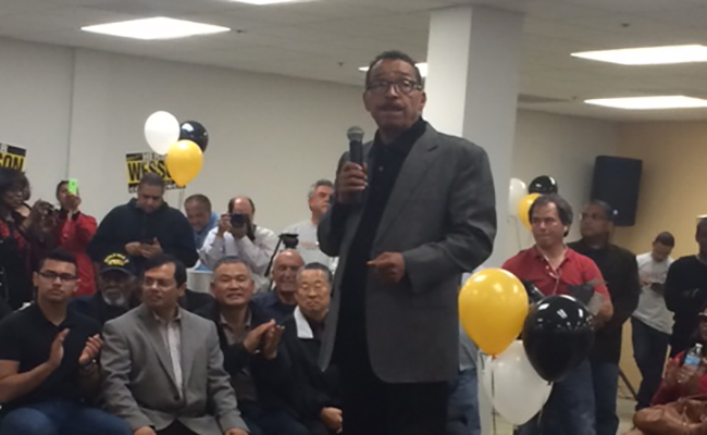 Herb Wesson speaks at a campaign event. | Kate Guarino
