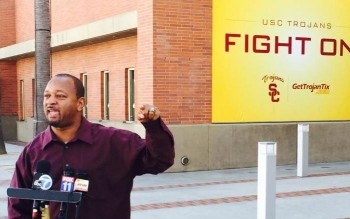 Najee Ali speaks outside the Galen Center. | Celeste Alvarez (Neon Tommy)