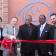 Cutting the ribbon at opening of St. John's Well Child and Family Center. | Jessica Harrington (Annenberg TV News)