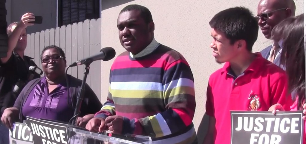 Jamar Nicholson, a South LA teen mistakenly shot by police, speaks at a news conference on Wednesday.