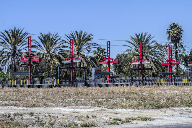 The empty lot by the 103rd Street/Watts Towers Metro stop where Barbara Stanton plans to open the new Wattstar Theatre. Stanton believes in the need for a theatre as more than a million people live within a five-mile radius of the project. | Photo by Gary McCarthy for LA Wave