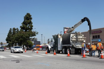 Construction for the metro rail line on Crenshaw blvd.