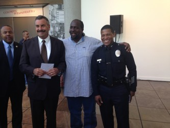 LAPD Chief Charlie Beck spoke with the South LA residents at his forum in Exposition Park. | Photo by Etienne Smith