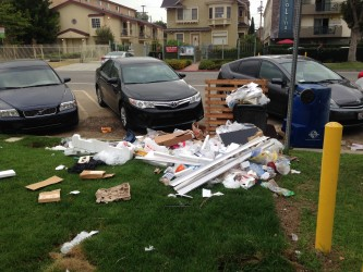 Trash piled up by a street corner near Ellendale Place and Adams Blvd.| Photo by Jordyn Holman