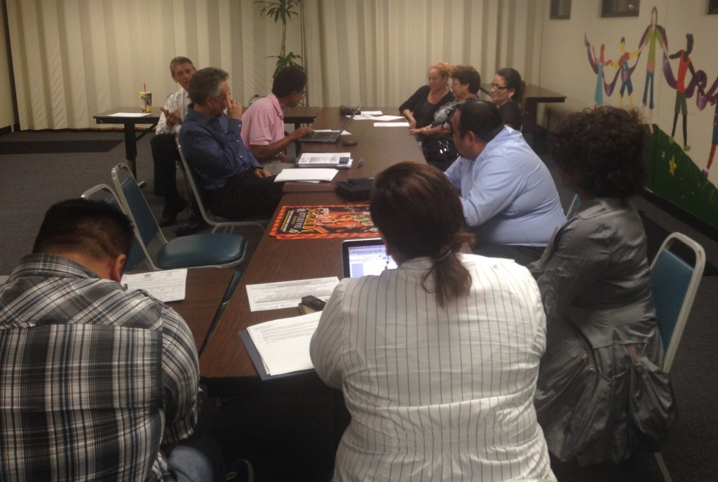 The South Central Neighborhood Council and community members discussed possible courses of action on the Reef Project Environmental Impact Report on Tuesday, October 20, 2015.