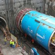 A soon-to-be-named  tunnel boring machine (TBM) similar to Seattle's Pamela, pictured in blue, will carve out the Crenshaw/LAX line's twin tunnels.