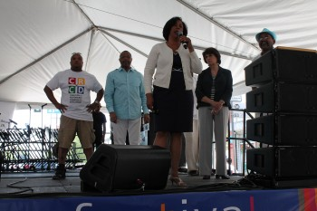 Former 9th District Councilwoman Jan Perry, who championed the festival for 12 of its 18 years, spoke to the crowd.
