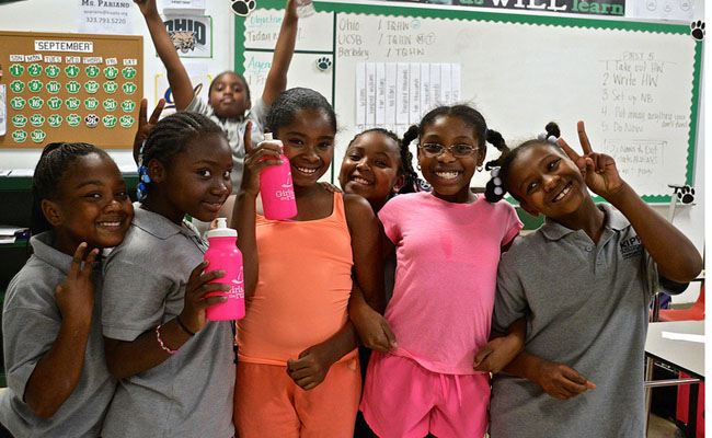 A running club for 5th grade girls at South L.A.'s Kipp Academy Charter School. Photo by Brianna Sacks.
