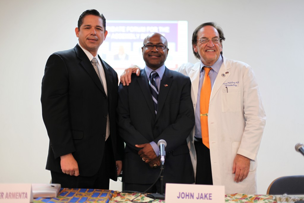 Chris Armenta, John Jake, and Mark Waksberg, three of the 54th District Assembly candidates.