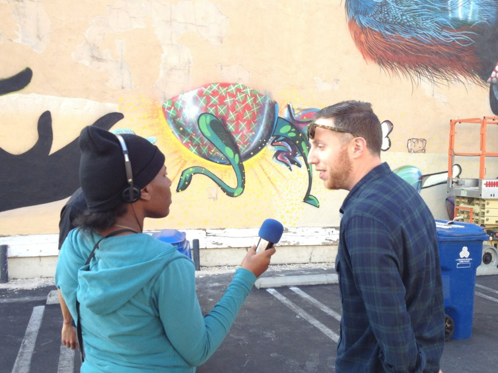 Shanice Joseph doing an interview with Reporter Corps South LA, summer 2013. | Kerstin Zilm