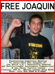 Flyer from a fundraiser to free Joaquin Ceinfuegos, the founder of Copwatch LA, from jail | Photo Courtesy of Copwatch LA