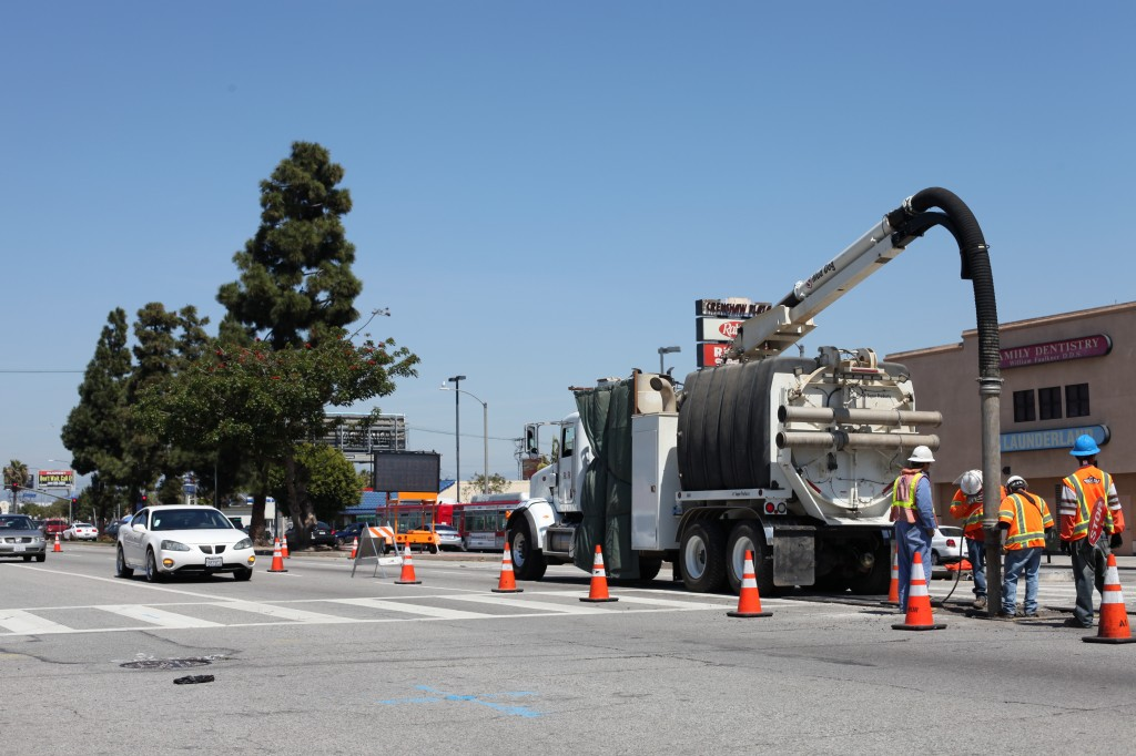 Construction for the new metro rail line on Crenshaw blvd. (April 2014)