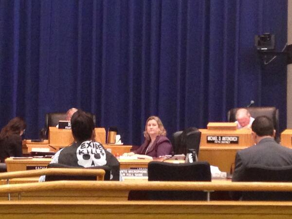 """Doelorez Mejia wears a cape reading """"Exide Kills"""" at a Board of Supervisors Meeting in March. 