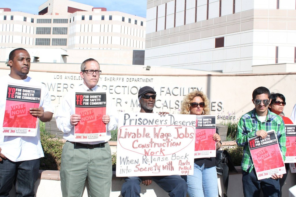 Protesters gather outside the LA County Jail ahead of the June sheriff election. | Daina Beth Solomon