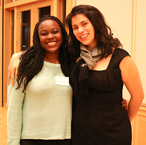 Alisha Agarde (l) and author Ashley Hansack (r) at a First Generation Mentorship Program Dinner at Whitman College in 2013
