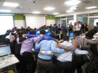 Pre-Demo Day huddle with URBAN TxT students. | Willa Seidenberg