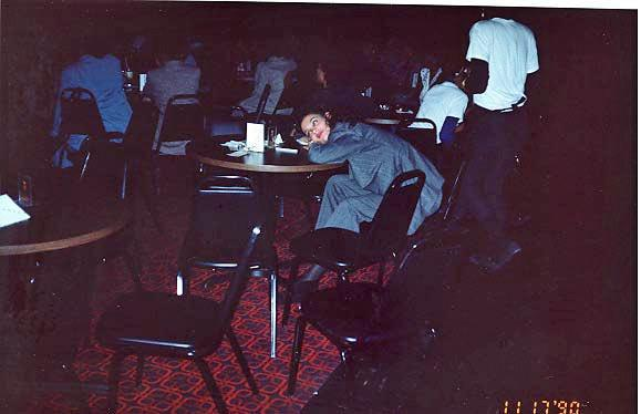 Comedian Angela Means relaxing between acts | Courtesy Michael Williams