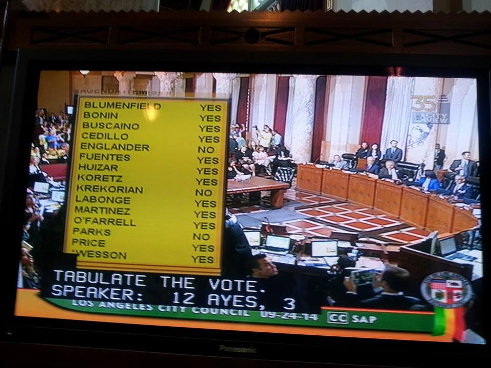 The vote tally -- three people dissenting. | LAANE Facebook