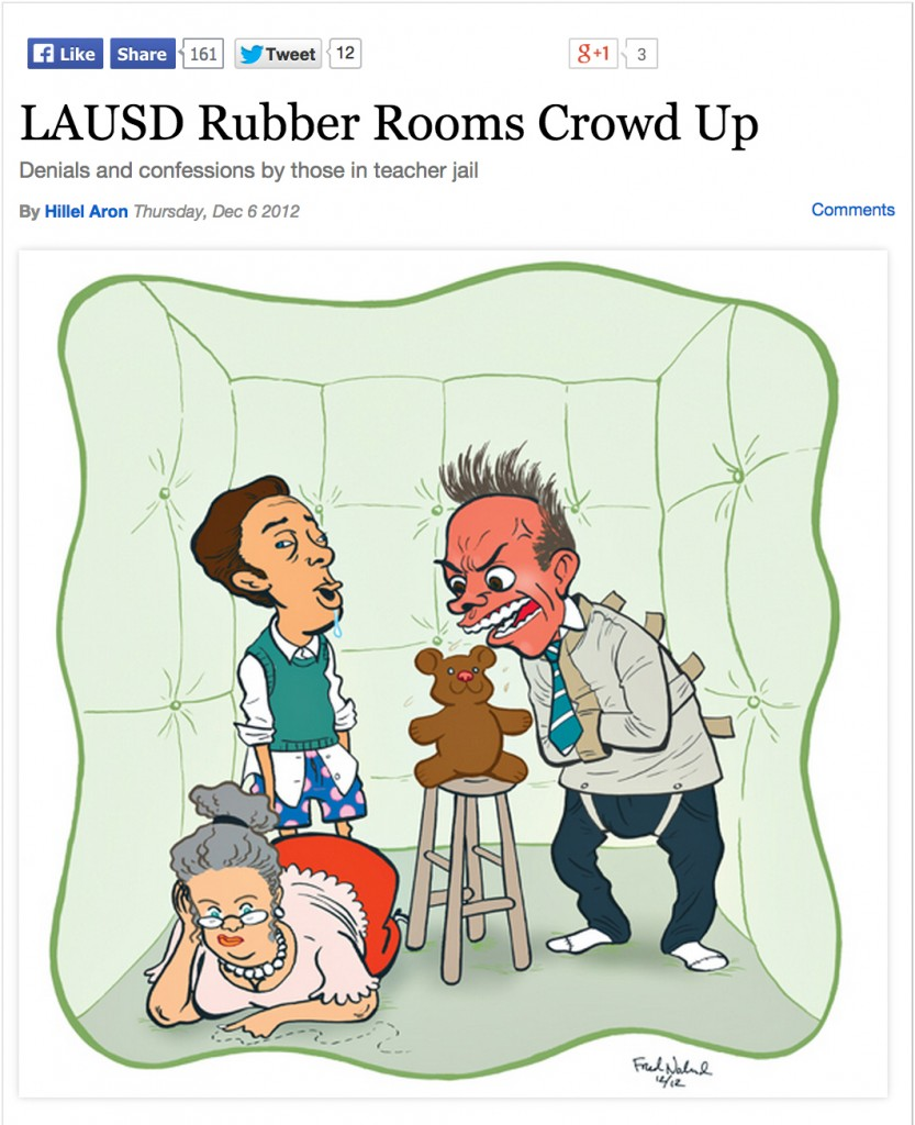 """Teacher jail is also known as """"rubber rooms,"""" according to an LA Weekly article."""