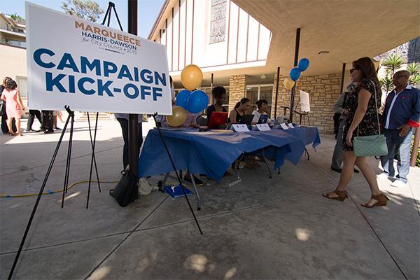 Harris-Dawson kicked off his candidacy at a church in South L.A. | Matthew Tinoco