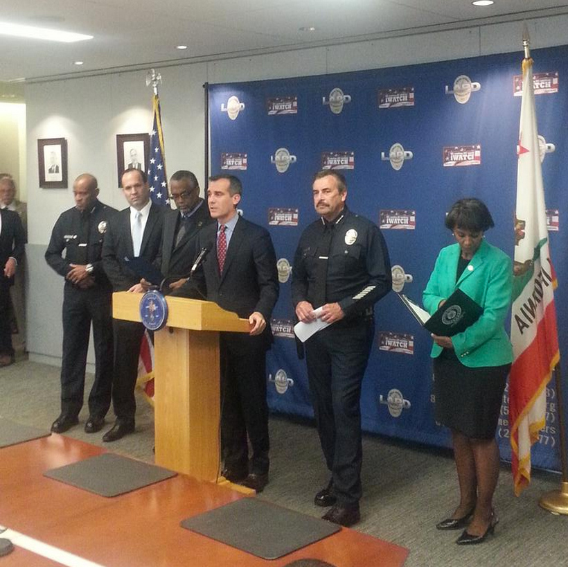 LAPD press conference on Ezell Ford investigation. | LAPD Twitter
