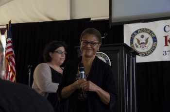 South LA Congresswoman Bass engages with the audience at Saturday's town hall meeting.